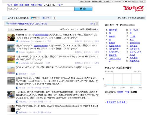 「クロスオン」の検索結果 - Yahoo!検索(リアルタイム)_20121017